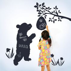 """Decorate your official dressing room door, or create space on the bathroom mirror as a reminder to smile, dazzle, and always be kind. Each wall decal is peel-and-stick simple, removable, reusable, and residue-free. What's Included: 1 bear (35""""h), 1 beehive (11""""h), 3 flowers, branches and leaves BPA and phthalate free Chalk included Each peel-and-stick wall decal is removable and reusable PATENTED U.S. PATENT OFFICE 7,878,812 AND PATENT NO. 8,221,130"""
