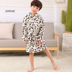 2018 Children s Autumn Winter Flannel soft warm long Robes boys girls  cow  Leopard. Kids NightwearPajamasClothesBoy ... 14ae78fe7