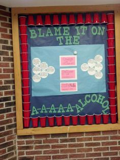 """Alcohol Awareness Bulletin Board for RAs! In each """"cup"""" I put a different fact about alcohol, or the truth to common myths about alcohol. In the middle I put numbers to two cab companies, and the campus Safe Ride program."""