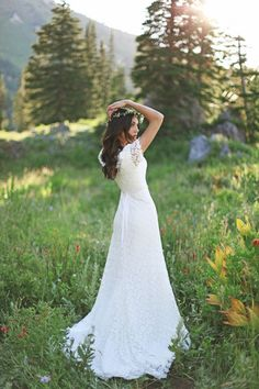 Romantic white crochet wedding dress with sheer sleeves and sash Wedding Dresses, Friendly, Styles, and Fashion, Dresses Bridal Gowns, Wedding Gowns, Lace Wedding, Wedding Day, Diy Wedding, Woodland Wedding, Wedding Things, Crochet Wedding Dresses, Modest Wedding Dresses