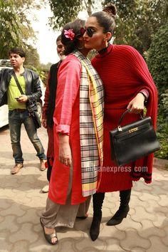 Sonam Kapoor with Shabana Azmi in Delhi to launch #Neerja's biography. #Bollywood #Fashion #Style #Beauty #Hot
