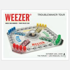 Art Print: Weezer The Forum 2008 by Kii Arens : Angels And Airwaves, Tour Posters, Band Posters, Weezer, Complicated Relationship, Concert Posters, Gig Poster, Amazing Weddings, Music Photo