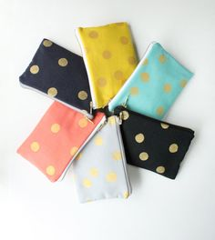 Clutch Bag with Gold Metallic Dots, Hand Painted with Gold Zipper, Choose Colors: Yellow, Grey, Navy, Black, Coral, and Pool