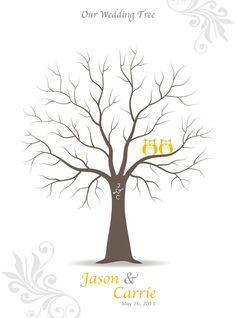Fingerabdruck Hochzeit Baum Gast Buch Poster mit von TJLovePrints