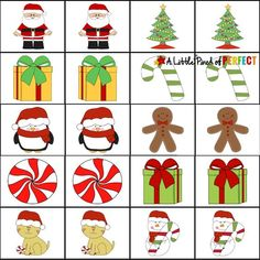 christmas printables Christmas Printable Memory Game-Fun for kids to play as they increase concentration, visual and cognitive skills (preschool, Kindergarten, First Grade, December) Christmas Board Games, Printable Christmas Games, Free Thanksgiving Printables, Christmas Activities For Kids, Christmas Party Games, Preschool Christmas, Christmas Themes, Christmas Holidays, Christmas Crafts