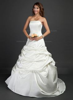 Wedding Dresses - $162.99 - Ball-Gown Strapless Court Train Satin Wedding Dress With Ruffle (002011687) http://jjshouse.com/Ball-Gown-Strapless-Court-Train-Satin-Wedding-Dress-With-Ruffle-002011687-g11687