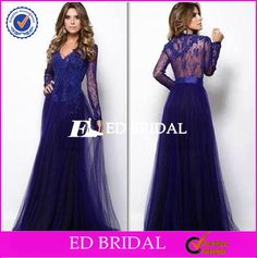 Check out this product on Alibaba.com App:Elegant Lace Appliqued Long Sleeve Top A Line Tulle Blue Long Evening Dress 2016 https://m.alibaba.com/uIZNNj
