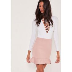 Missguided Frill Hem Scuba Mini Skirt Pink ($13) ❤ liked on Polyvore featuring skirts, mini skirts, mauve, pink miniskirt, ruffle skirt, ruffle mini skirt, short mini skirts and pink skirt