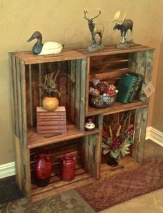 Set Of Four Extra Large Wood Crates 24 L X 18 W 11 1 2 D Each Bookcase Bookshelf Stacking Crate Decorative Le