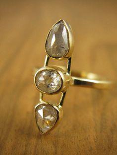 Triple Diamond Ring - White Rose Cut Diamonds