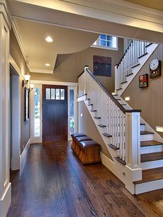 Like the bead board on the wall up the stairs. Economic wainscoting and tougher than drywall.