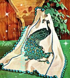 THE PEACOCK Afghan Crochet Pattern Instant Digital PDF 60s Vintage Crochet Pattern basic afghan stitch then embroidered bird fowl fiber art by VintageBeso on Etsy