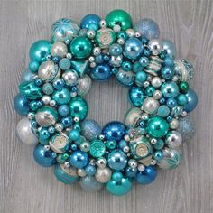 Aqua and Pale Blue Christmas Ornament Wreath with Vintage Mercury Glass Ornaments on Etsy, $199.00