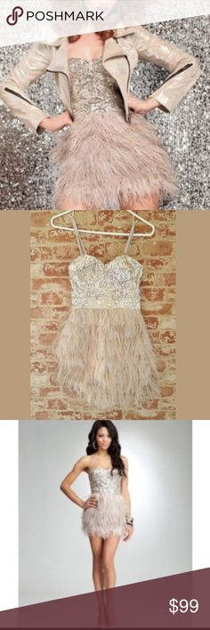 "Bebe Isis Feather Party Dress Great condition. Fully lined. Padded bust. Removable straps. Length is 25"". bebe Dresses Mini"