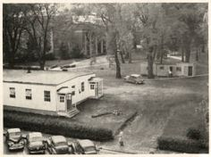 The newly installed Rec Hall on College Green in 1948. It was meant to hold the overflow from the Student Union, which was across the street where the Schoonover Center now sits at the intersection of S. College and E. Union. :: Ohio University Archives