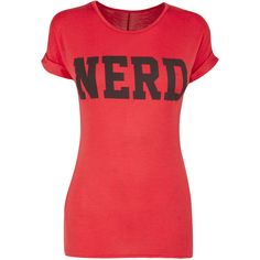 Red Nerd T-shirt ($11) ❤ liked on Polyvore featuring tops, t-shirts, shirts, blusas, logo shirts, red tee, rayon shirts, red top and logo tee