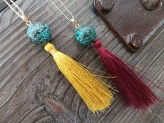Tassel Necklace Long Necklace Natural Turquoise by EliteStone