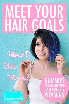 SugarBearHair is formulated with essential hair-friendly vitamins like biotin, folic acid, and Vitamin D. Simply eat 2 a day.