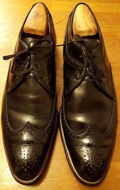 Vintage, Stacy Adams, Black, Leather/Patent Leather, Wing Tips (Sz 10.5 D)…
