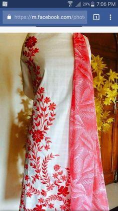 Embroidery Motifs, Embroidery Fashion, Kurti Patterns, Dress Patterns, Embroidery Suits Punjabi, Boutique Suits, Punjabi Dress, Designs For Dresses, Kurta Designs