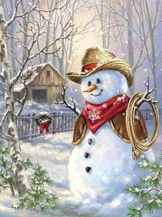 Western Cowboy Snowman boxed Christmas cards by artist Dona Gelsinger. Made in the USA on recycled paper. Christmas Scenes, Vintage Christmas Cards, Christmas Pictures, Christmas Snowman, Christmas Holidays, Christmas Crafts, Christmas Decorations, Christmas Ornaments, Merry Christmas
