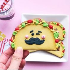 Taco-bout a cute cookie from Perfect for a first Fiesta birthday party. Cookie Icing, Royal Icing Cookies, Sugar Cookies, Taco Cupcakes, Taco Cake, Cut Out Cookies, Cute Cookies, Baby Cookies, Mustache Cookies