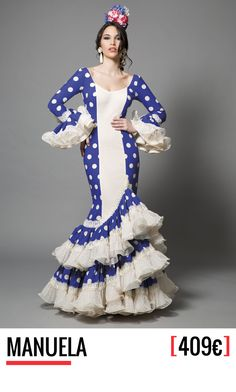 Colección 2016 de Aires de Feria, trajes de flamenca. Diseño, fabricación y venta. 100% Moda flamenca. Trajes de gitana con todo el sabor a Andalucía. Flamenco Dancers, Flamenco Dresses, Trumpet Skirt, Blue And White Dress, African Design, Cute Dresses, Disney Princess, Purple, Skirts
