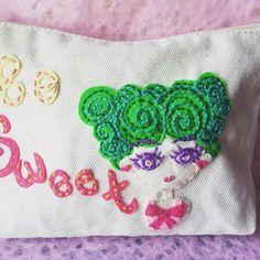 Be Sweet if you Can. #embroidery #pouch #craft #illustration #diy #handmade #fashiondesigner #handicraft #girlillustration #felt #cute #手作り #手描き #デザイン #絵 #イラスト #イラストレーション #ハンドメイド #刺繍 #ファッション #可愛い #핸드메이드 #일러스트 #디자인 #패션
