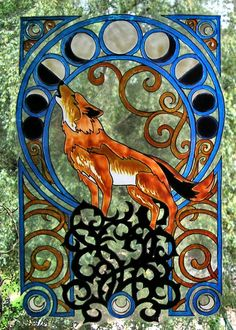 WICOART STICKER WINDOW COLOR CLING FAUX STAINED GLASS ART DECO MOON WOLF LOUP Faux Stained Glass, Stained Glass Patterns, The Wolf Among Us, Art Nouveau, Art Deco, Wolf Moon, Art Courses, Glass Animals, Decoration
