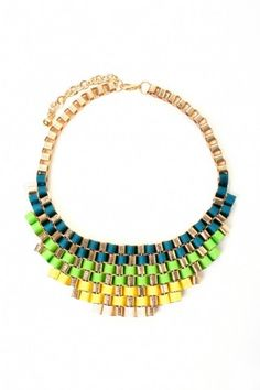 Green Woven Ribbon Bib Necklace - $22