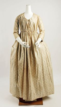 Gown, ca. 1796 how comfy is this for at home. With a full apron to protect the fabric.