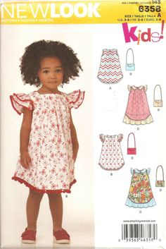 New Look Kids 6358 Girls Dress Bag Sewing Pattern Size 3 – 8 | eBay