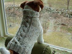 Tejido a mano suéter de perro avena Cable medio por jenya2 en Etsy