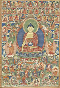 FEINES THANGKA DES SHAKYAMUNI. Tibet, 19. Jh. 70x48 cm.