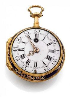 Julien LE ROY, PARIS N° 9597, vers 1750 Belle montre décorative en or, dos…