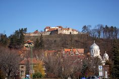 Wonderful view of the Brasov citadel on the top of the hill