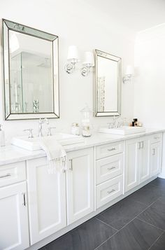 Tracey Ayton Photography - bathrooms - Venetian Beaded Mirror, Lugarno Single Sconce, gray slate floor, beaded mirrors, beveled mirrors, bev...