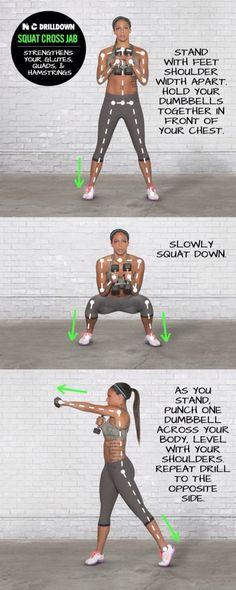 Squat/jab/squat/upper cut/ squat (Repeat!!)