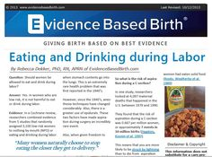 Eating and Drinking in Labor - what does the evidence say?