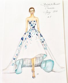 Natalia Zorin Lou: Marker Sketch of Ralph & Russo, Haute Couture, Spring/Summer 2016