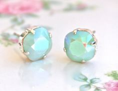 Swarovski Mint Green Alabaster Square Iridescent Silver Wedding Post Earrings from on Etsy. Saved to Jewelry. Green Earrings, Stud Earrings, Liz Palacios, Beaded Jewelry, Handmade Jewelry, Wedding Earrings, Mint Green, Iridescent, Swarovski