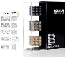 Collection of 125 Black, Gold & Nickel Buckyballs (Bb125Coll) by Buckyballs - Perkal Gift