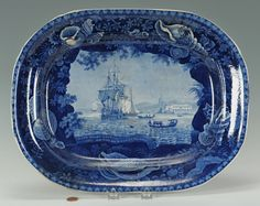 Woods and Sons Blue Staffordshire platter Cape Cost Castle on the Gold Cape of Africa Flow Blue China, Blue And White China, Love Blue, Blue Dishes, White Dishes, Antique China, Antique Plates, Blue Pottery, Blue Nails