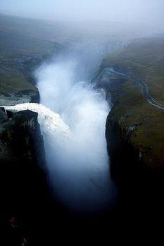 Magical Waterfall in Iceland, Hverfandi side of Karahnjukar fall 200 meters down to Hafrahvammagljufur.