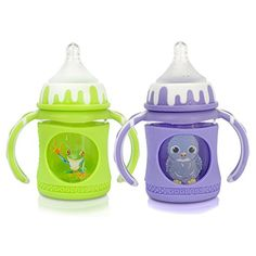 GoGlass Borosilicate Glass Baby Bottle Set With Sippy Cup Spout  4oz  Two Pack  BPA Free  Best Feeding For Preemie Newborns Infants and Toddlers Amazon Registry  GreenPurple -- Details can be found by clicking on the image.Note:It is affiliate link to Amazon.