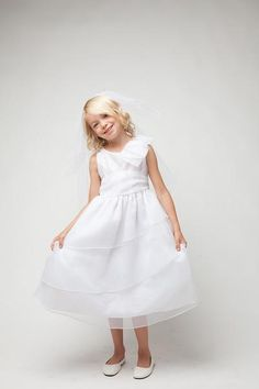 White Flower Girl Dress designed and manufactured in America by top children's label designer Sweet Kids : Available at CildrensDressShop.com