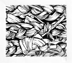 Woodcut Relief Print, 13x11 BRAIDED PAPERWHITES II Black & White Graphic from the Garden. by RedTailStudios via Etsy.