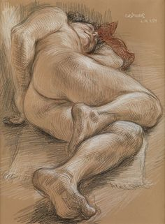 """""""Sleeping Male Nude,"""" Paul Cadmus, color crayons on reddish tan Canson paper, 19 x 17 private collection. Figure Painting, Figure Drawing, Painting & Drawing, Life Drawing, Drawing Sketches, Art Drawings, Gustav Klimt, Paul Cadmus, Art Of Man"""