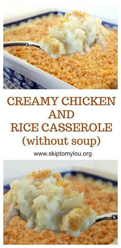 THE best homemade chicken and rice casserole made without soup. A simple and delicious dinner recipe. #recipe #dinner #casserole