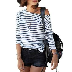 Blue and White Bateau Neck Long Sleeve Striped Top